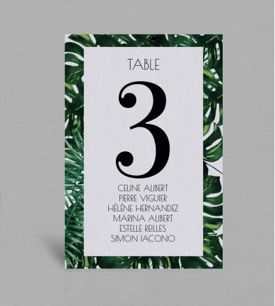 Plan de table exotique Jungle