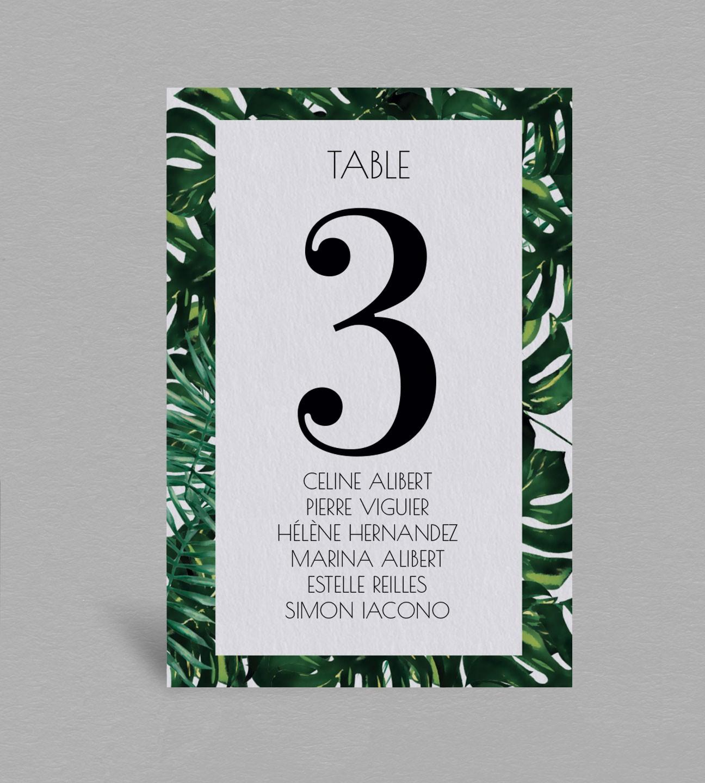Plan de table exotique Jungle