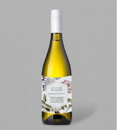 Etiquette bouteille de vin Botanique Appoline