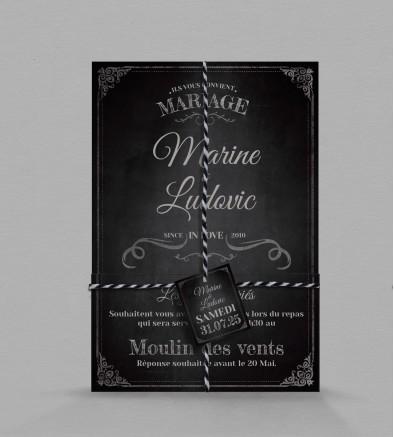 Faire-part de mariage vintage Clapper