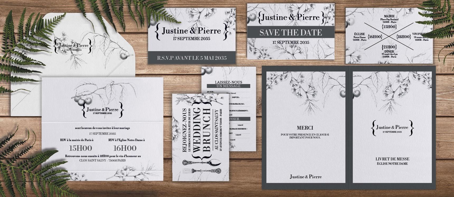 Faire-part de mariage Botanique Augustine