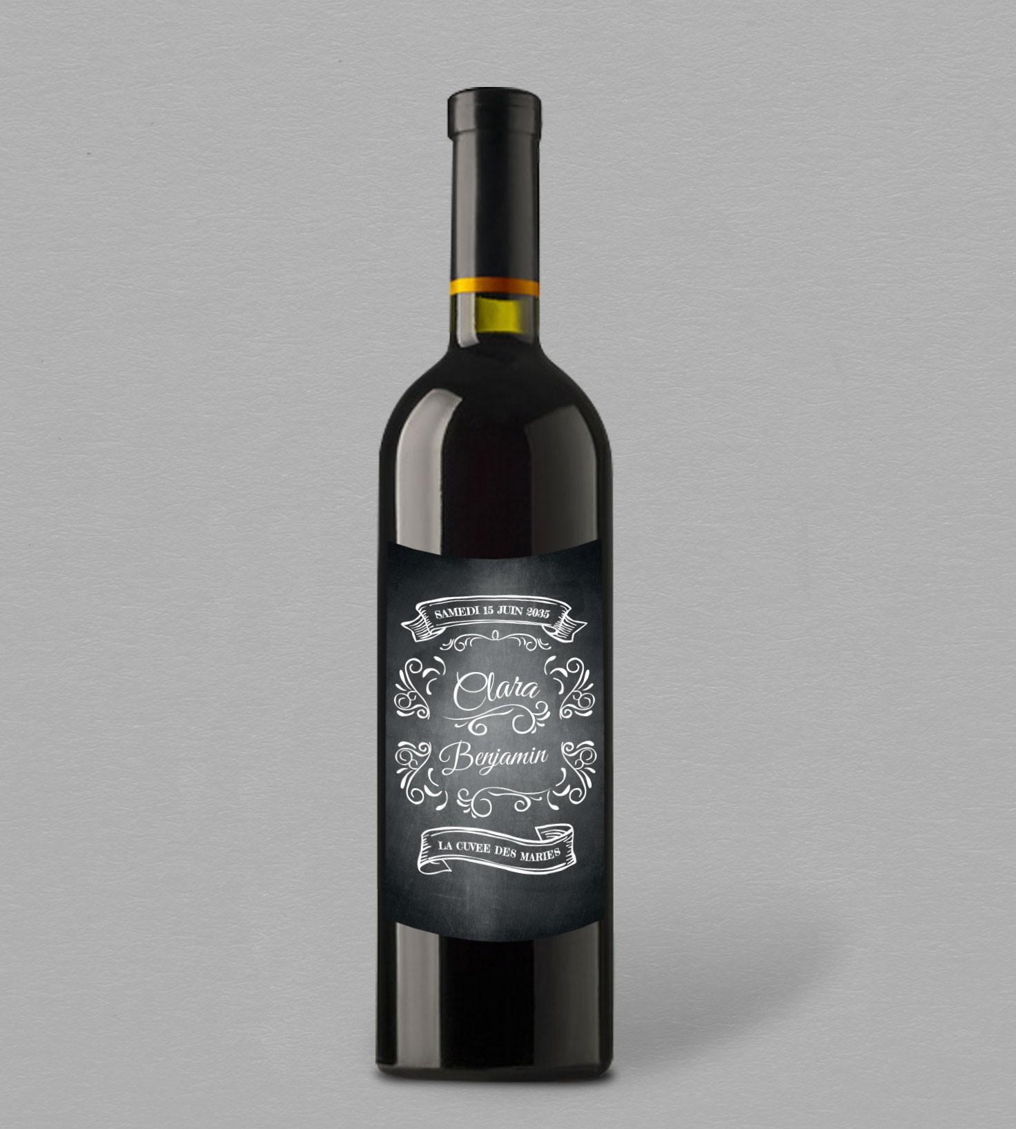 Etiquette Bouteille De Vin Pour Mariage Vintage Personnaliser