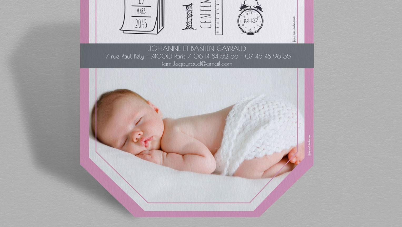 faire part naissance fille de la collection lapin. Black Bedroom Furniture Sets. Home Design Ideas