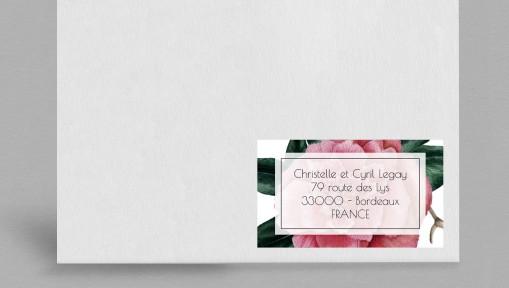 Etiquette enveloppe champêtre Camélia