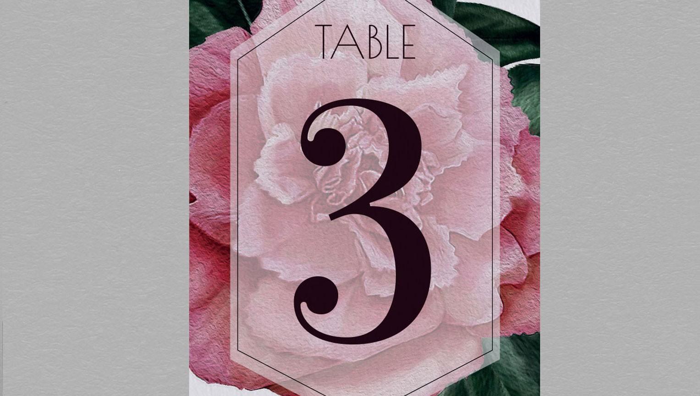 Numéro de table champêtre Camélia