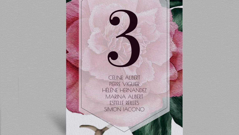 Plan de table champêtre Camélia