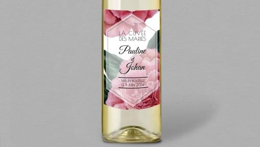 Etiquette bouteille de vin champêtre Camélia