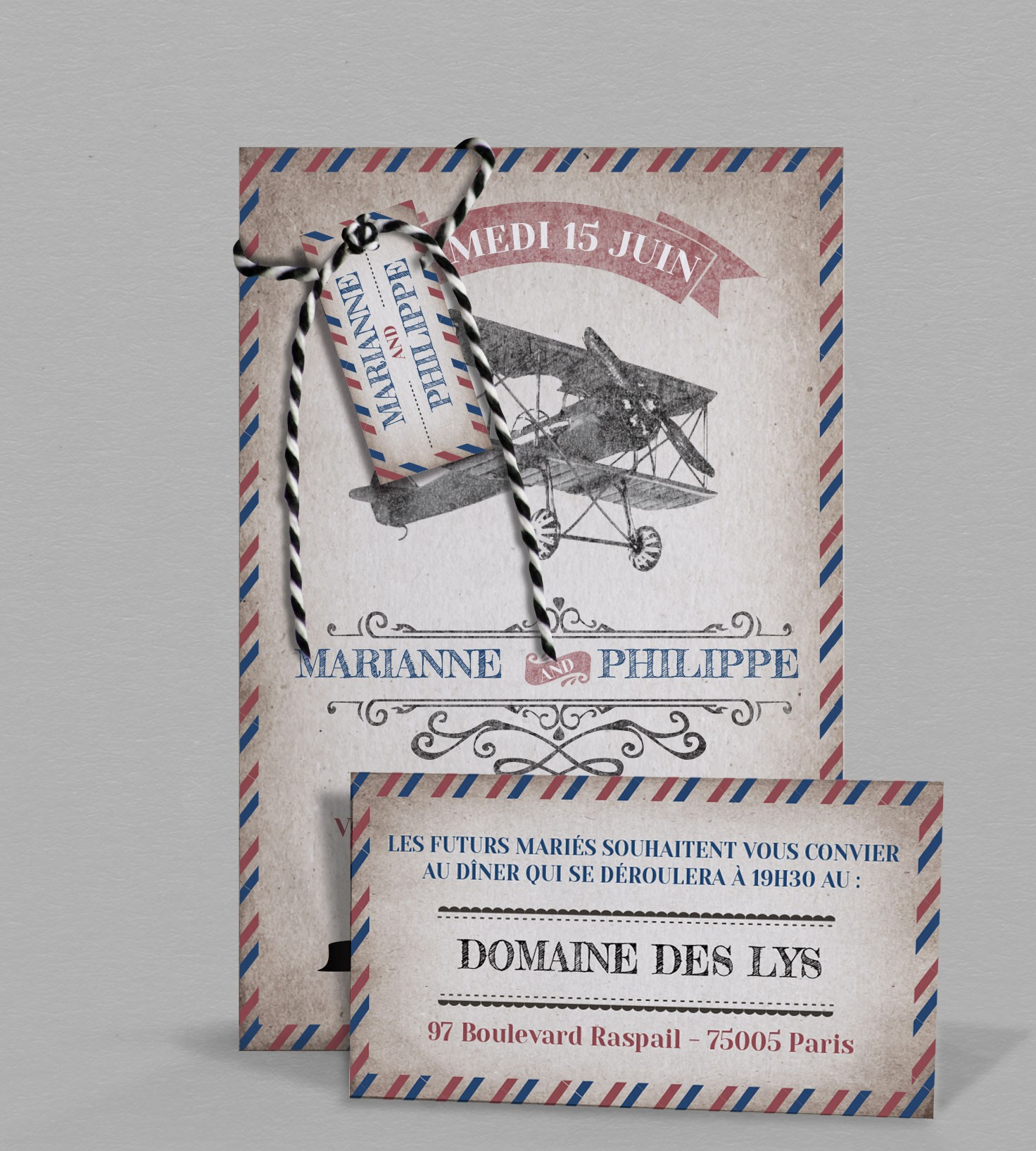 Faire Part De Mariage Vintage Sur Le Theme Du Voyage