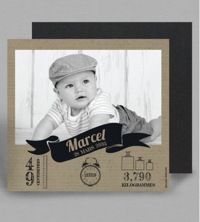 Faire part naissance magnet vintage