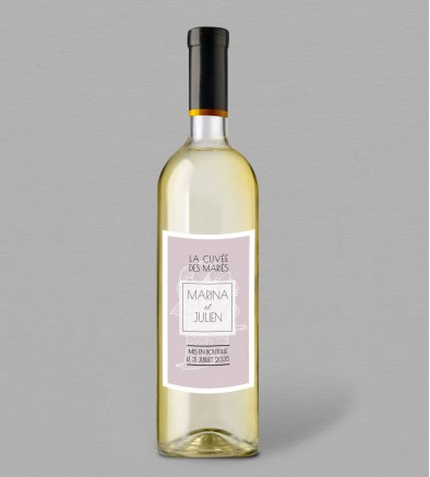 Etiquette bouteille de vin champêtre Philomène