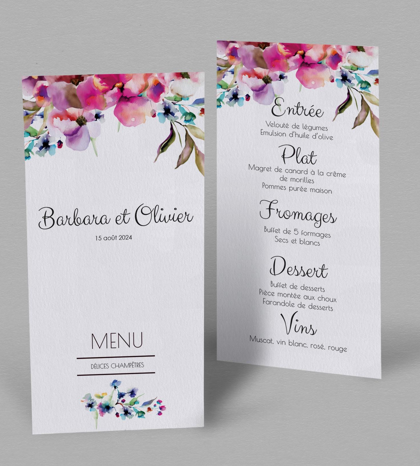 menu de mariage champ tre liya un menu aux couleurs explosives. Black Bedroom Furniture Sets. Home Design Ideas