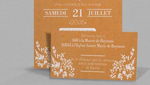 Faire-part de mariage champêtre chic Adèle