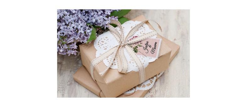 Etiquette boite à cadeaux champêtre Enola