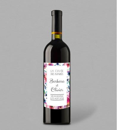 Etiquette bouteille de vin champêtre Liya