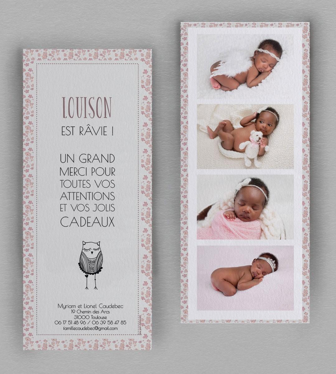 remerciement naissance liberty hiboux une fa on originale de remercier. Black Bedroom Furniture Sets. Home Design Ideas