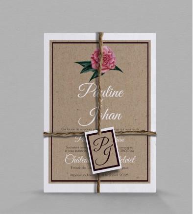 Faire-part de mariage champêtre Camélia