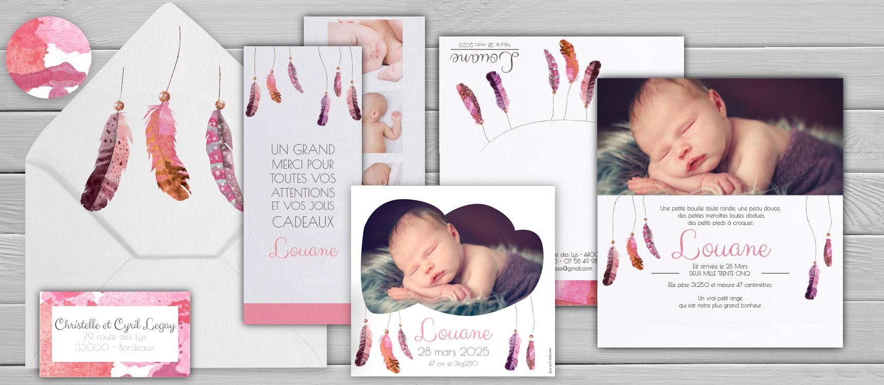 Faire part naissance fille personnaliser illustration l 39 aquarelle - Faire part naissance creatif ...