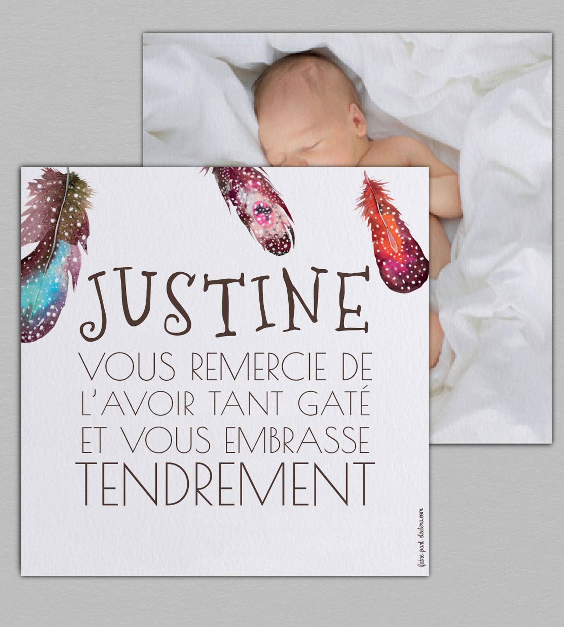 Extraordinaire Carte de remerciement naissance fille de la collection Attrape-Rêves PE64