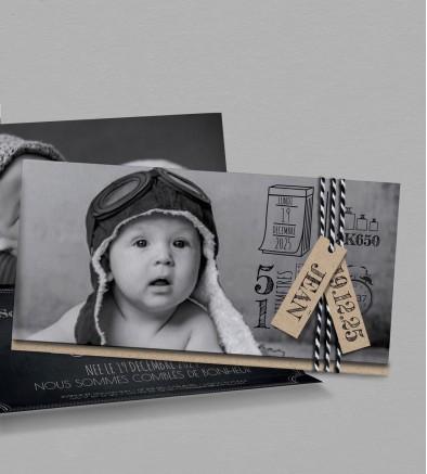 Faire-part naissance Vintage Kraft