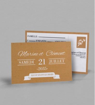 Carton réponse champêtre chic Adèle