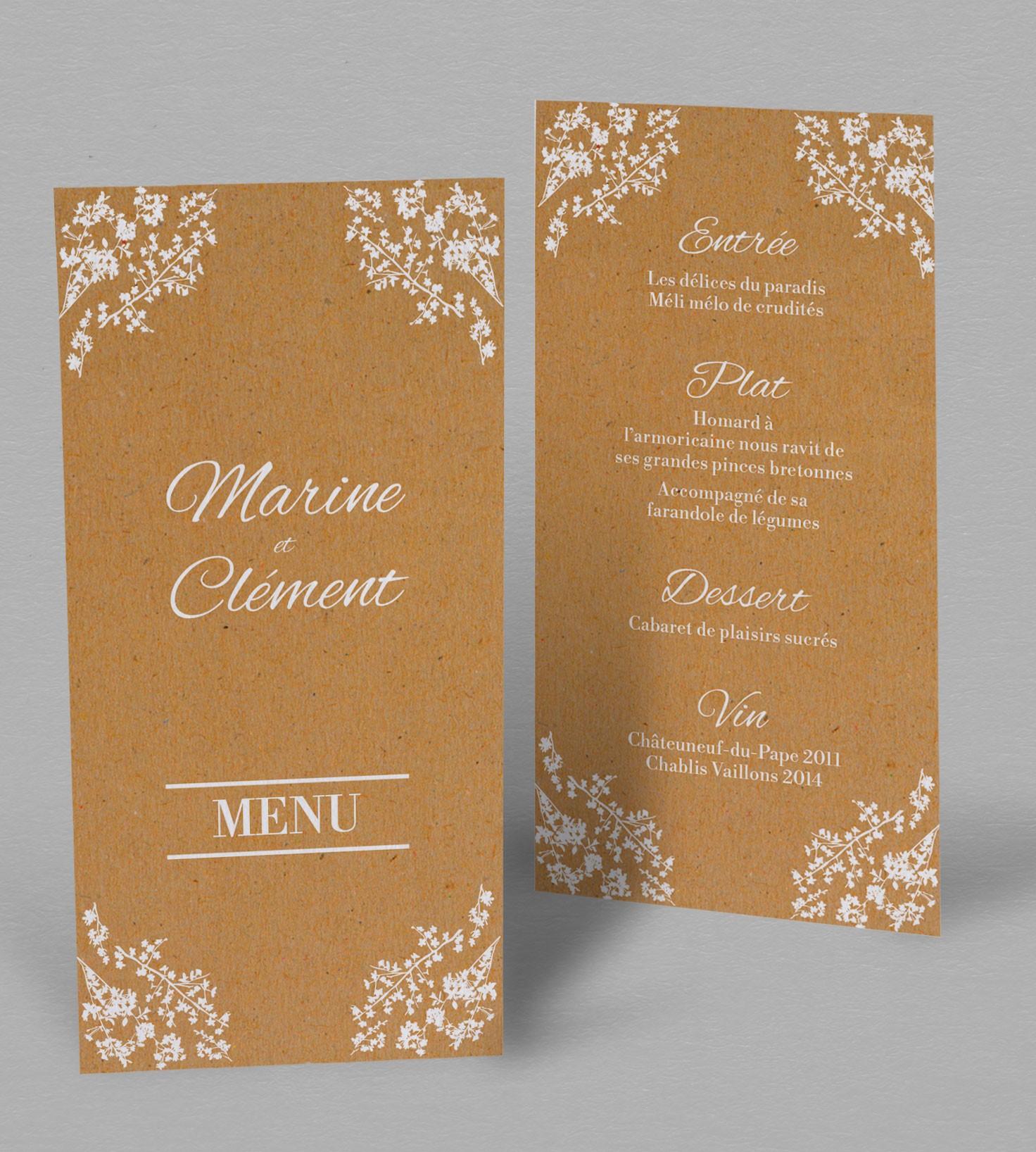 menu de mariage champ u00eatre  u00e0 personnaliser en ligne