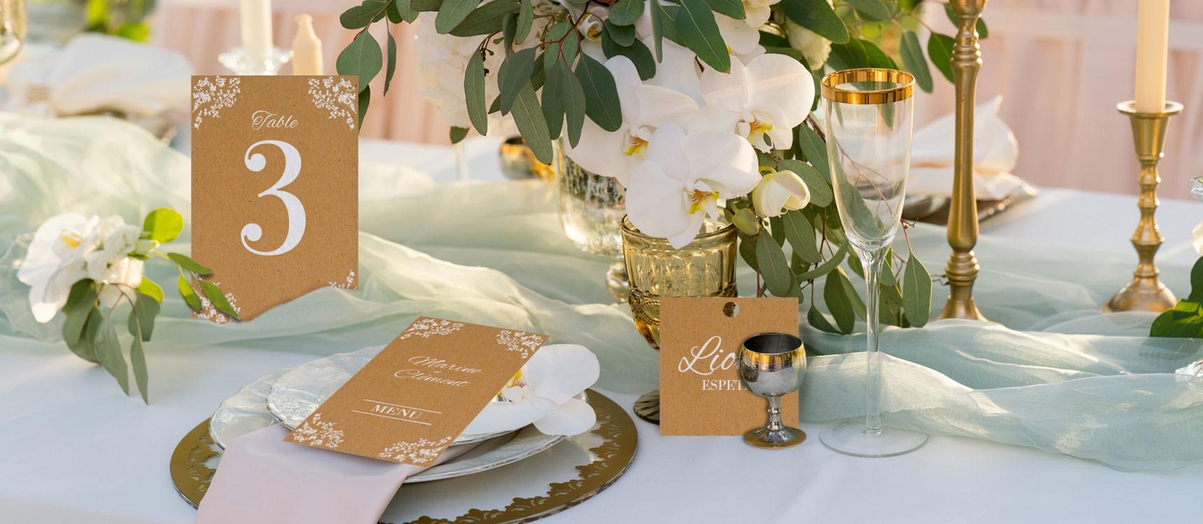 marque place ad le pour une table de mariage champ tre chic. Black Bedroom Furniture Sets. Home Design Ideas