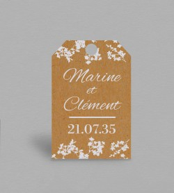 Etiquette boite à cadeaux champêtre Adèle