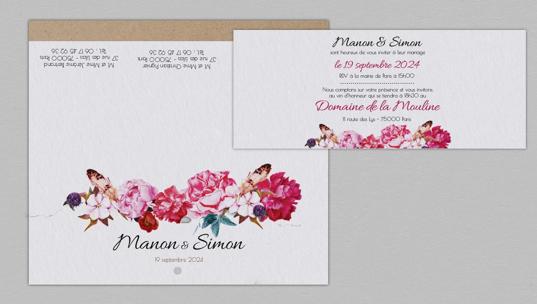 Faire-part de mariage champêtre Andréa