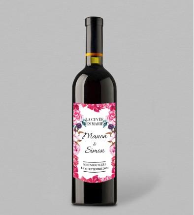 Etiquette bouteille de vin champêtre Andréa
