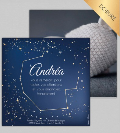 Remerciement naissance Constellations