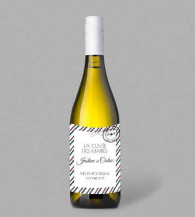Etiquette bouteille de vin Boarding Pass