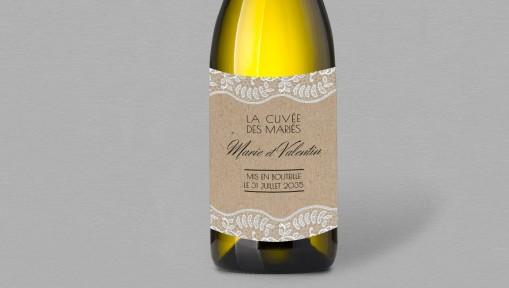 Etiquette bouteille de vin champêtre chic Juliette