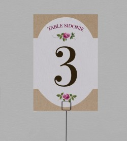 Numéro de table champêtre Angèle