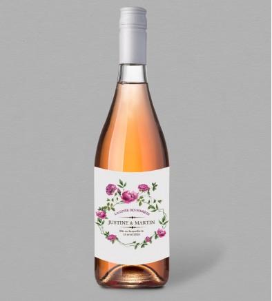 Etiquette bouteille de vin champêtre Angèle