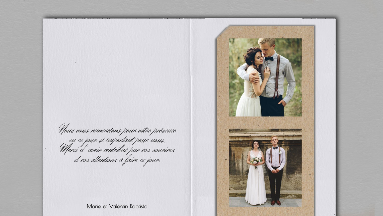Remerciement mariage champêtre chic Juliette