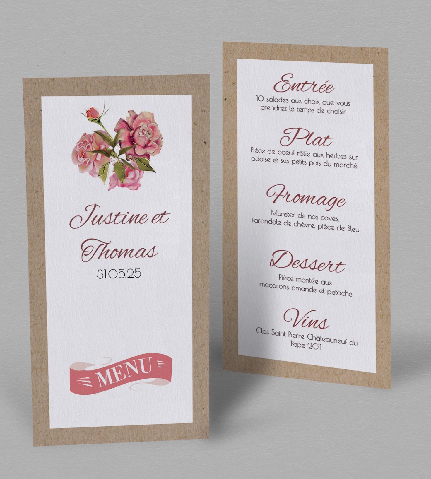 menu de mariage scarlett une collection romantique et champ tre. Black Bedroom Furniture Sets. Home Design Ideas