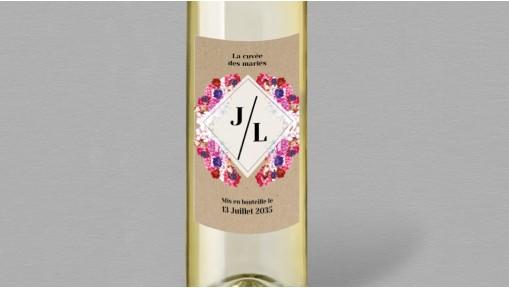 Etiquette bouteille de vin boho chic Flora