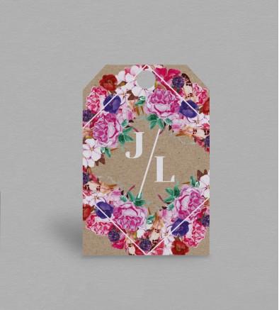 Etiquette boite à cadeaux boho chic Flora