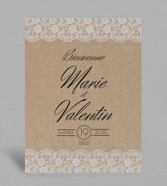 Tableau de bienvenue mariage champêtre chic Juliette