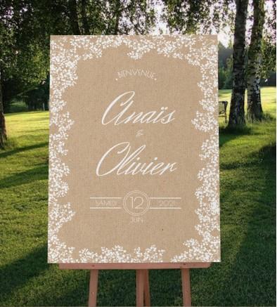 Tableau de bienvenue mariage champêtre chic Colette