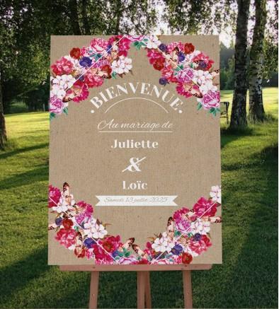 Tableau de bienvenue mariage boho chic Flora