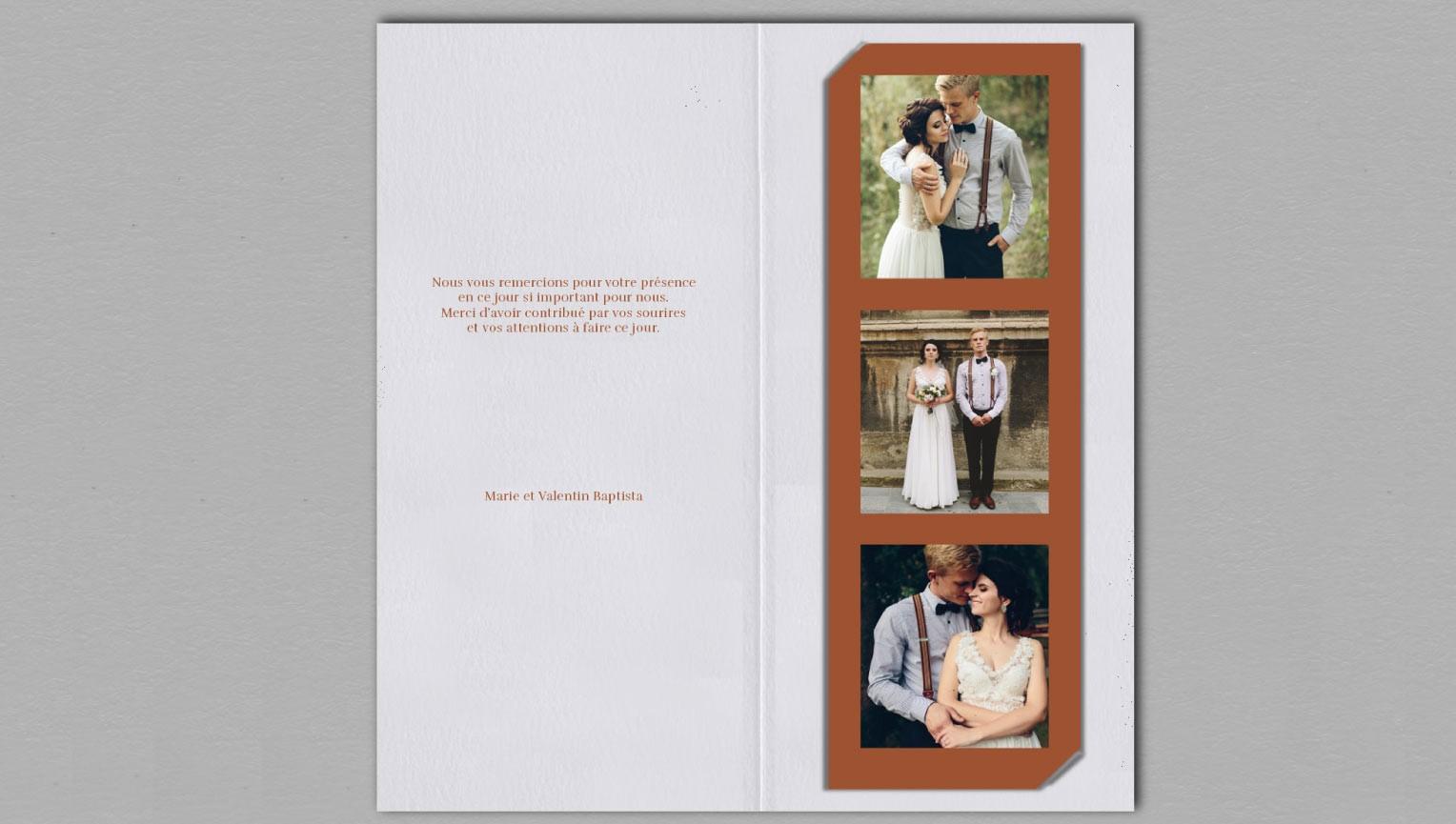 Remerciement de mariage Terra Cotta