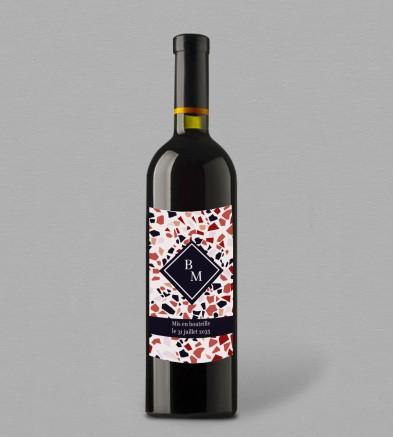 Etiquette bouteille de vin Terrazzo