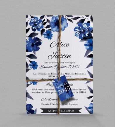 Faire-part de mariage champêtre Infinite Blue
