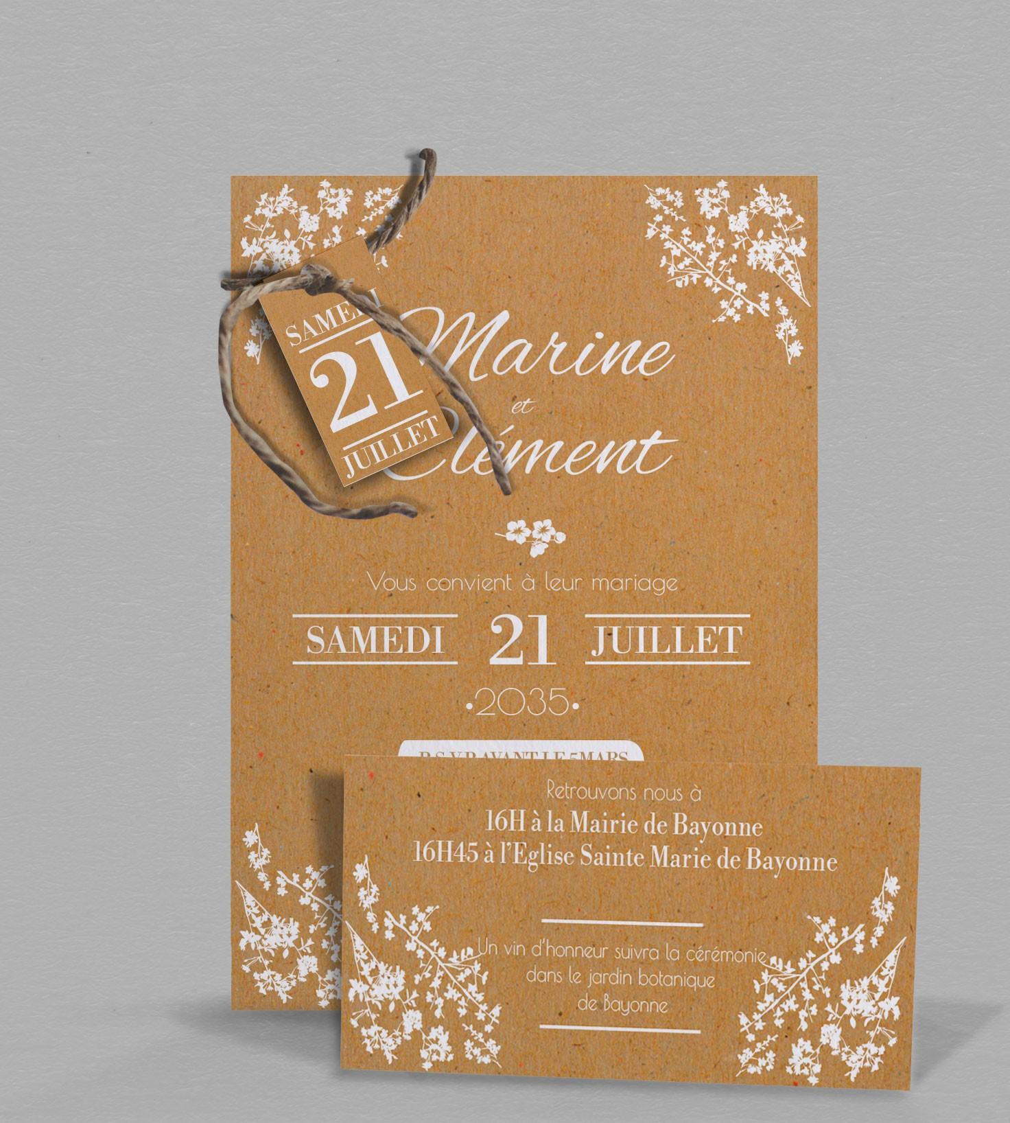 faire part de mariage champ tre chic ad le kraft et fleurs blanches. Black Bedroom Furniture Sets. Home Design Ideas