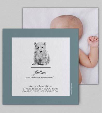 Remerciement naissance Ourson