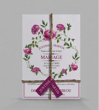 Faire-part de mariage champêtre Angèle