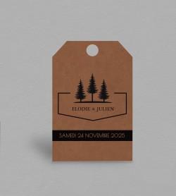 Etiquette boite à cadeaux Champêtre Montagne