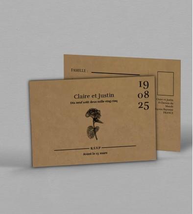 Carton réponse champêtre Hortense