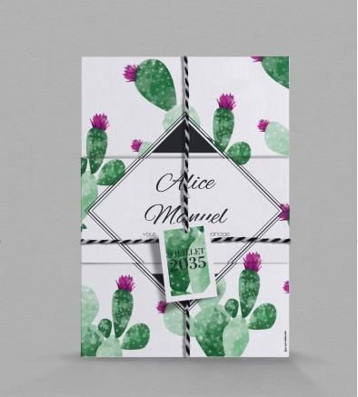Faire part de mariage exotique Cactus
